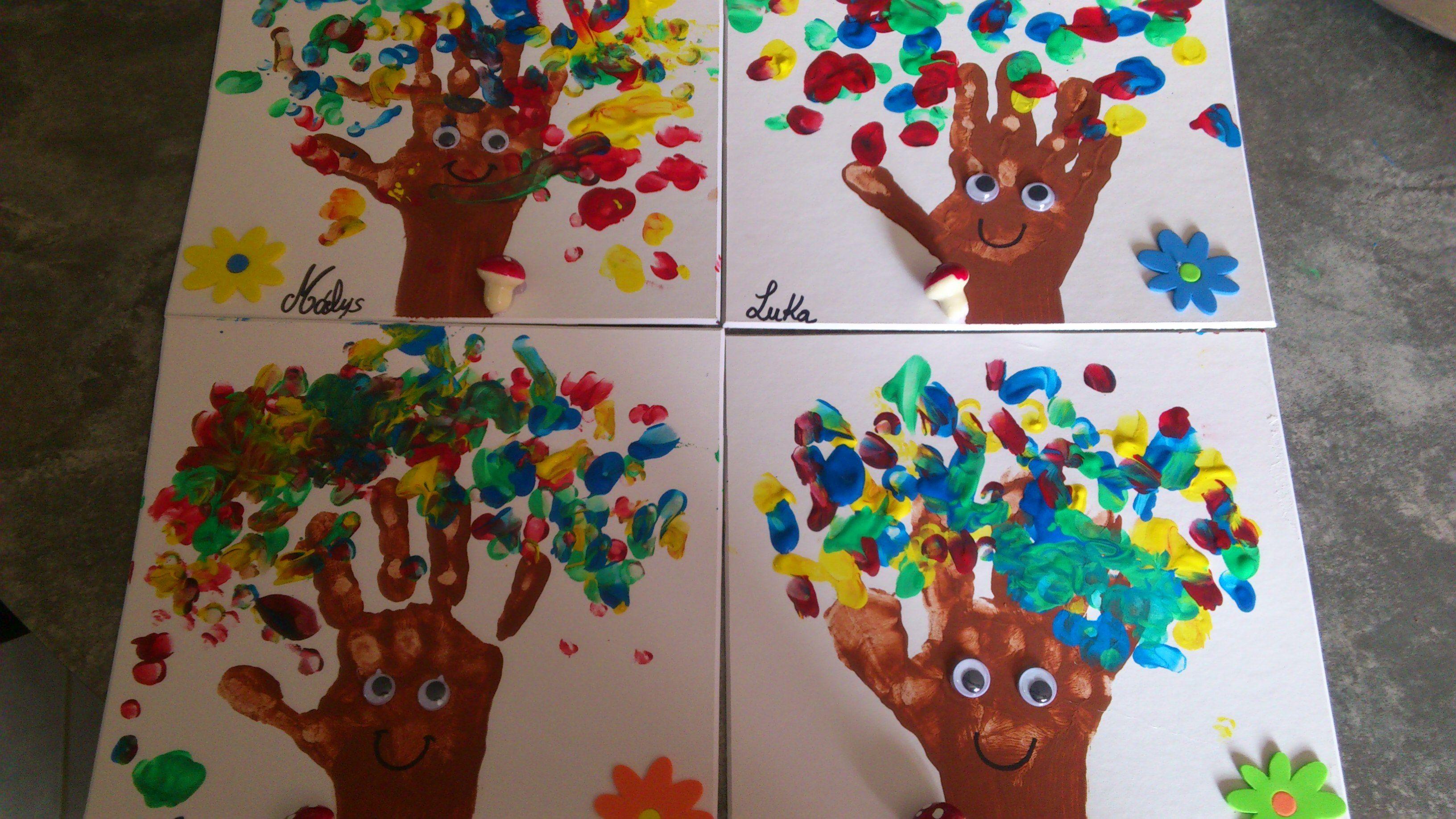 La main de l'enfant représente le tronc de l'arbre et ils ont fait l